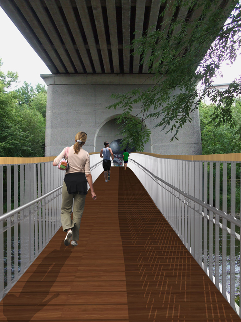 3D view along Ossory Pedestrian bridge